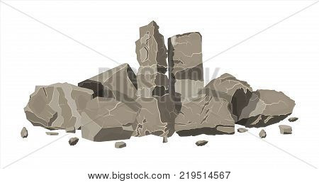 Pile of rock stone. Stones and rocks in variuos sizes. Set of different boulders. Vector illustration in flat style