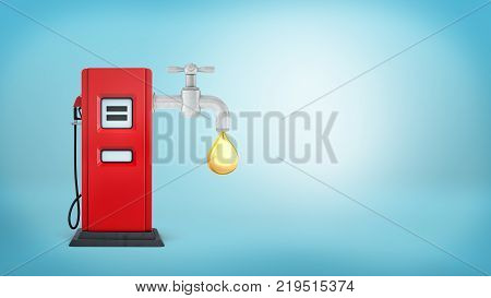 3d rendering of a red gas pump on a blue background with a metal faucet attached to it and leaking a large golden oil drop. Oil and gas business. Refinery station. Sell quality petrol.
