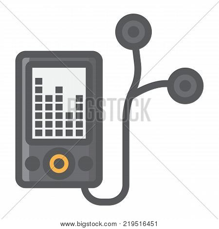 Mp player device filled outline icon, fitness and audio, music sign vector graphics, a colorful line pattern on a white background, eps 10.