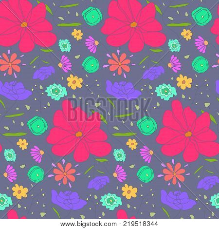Cartoon cute seamless pattern with sketch colorful ditsy flowers. Doodle floral texture on dark pale background for textile, bedclothing, wrapping paper, wallpaper, cover, underwear