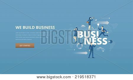 Vector illustrative hero banner represents building business metaphor with men and women business characters around word 'business' over digital world map.