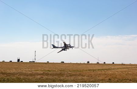 ENGELS RUSSIA - AUGUST 19 2017: Air Fleet Day. Military aircraft bomber takes off