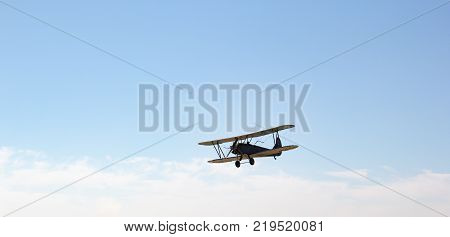 ENGELS RUSSIA - AUGUST 19 2017: Air Fleet Day. Biplane in the sky in the air