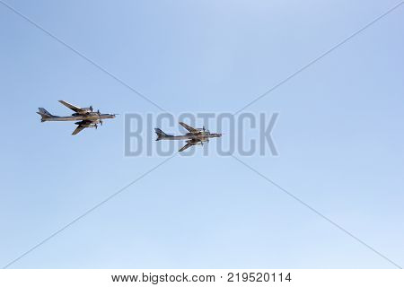 ENGELS RUSSIA - AUGUST 19 2017: Air Fleet Day. Military bomber in the air in the sky