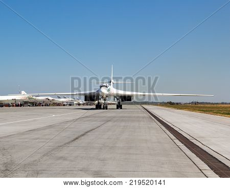 ENGELS RUSSIA - AUGUST 19 2017: Air Fleet Day. Military aircraft at a military airfield on the runway