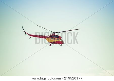 ENGELS RUSSIA - AUGUST 19 2017: Air Fleet Day. Helicopter in flight in the air