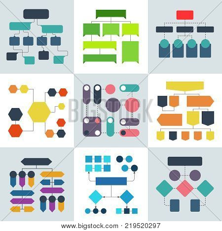 Structural flow diagrams, flowcharts and flowing process structures. Vector infographics elements structure process, diagram and flowchart illustration