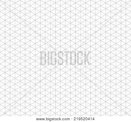 Isometric line seamless vector grid. Triangular geometric repeat background. Tile geometric seamless pattern illustration