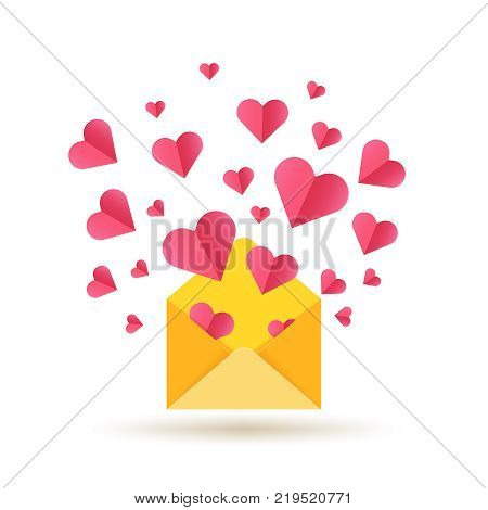 Happy Valentines Day vector card with open envelope and red hearts. Envelope with red heart, valentine romantic mail illustration