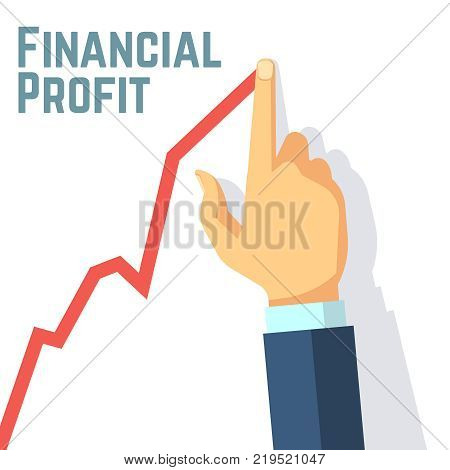 Finger drawing growth chart. Financial profit and investing business vector concept. Hand finger and growth market stock illustration