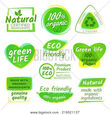 Healthy eco vegetarian food organic vector logos and products stickers. Green bio sticker and emblem illustartion