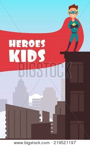 Boy superhero with red cloak over the city buildings vector super kids poster. Super hero boy in cloak illustration