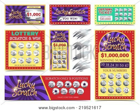 Winning lotto tickets and scratch cards vector set. Win game in lottery illustration