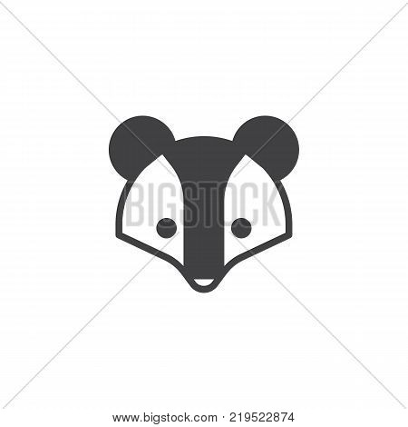 Badger head icon vector, filled flat sign, solid pictogram isolated on white. Brock face symbol, logo illustration.