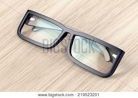 Eyeglasses with black frame on wood background, 3D illustration