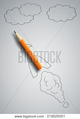 startup concept pencil as drawn rocket on grey