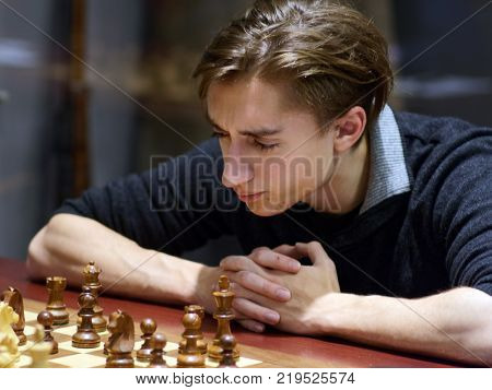 ST. PETERSBURG, RUSSIA - DECEMBER 4, 2017: Daniil Dubov in the match against Peter Svidler during super finals of 70th Russian men's chess championship. Dubov won the match