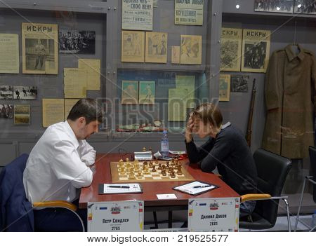 ST. PETERSBURG, RUSSIA - DECEMBER 4, 2017: Match Peter Svidler (left) vs Daniil Dubov during super finals of 70th Russian men's chess championship. Dubov won the match but Svidler become champion