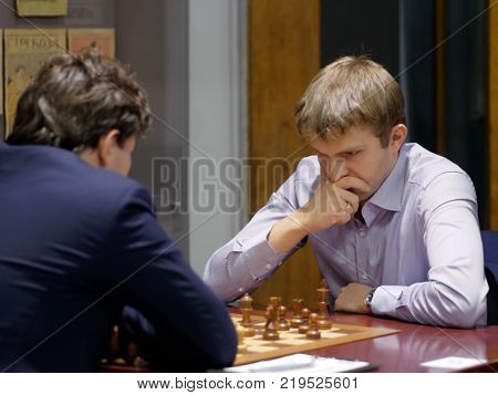 ST. PETERSBURG, RUSSIA - DECEMBER 4, 2017: Nikita Vitiugov in the match against Evgeny Romanov during super finals of 70th Russian men's chess championship. Vitiugov  won the match
