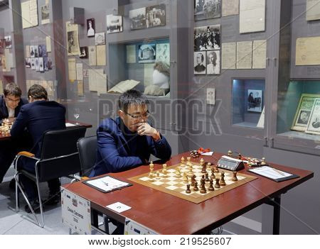 ST. PETERSBURG, RUSSIA - DECEMBER 4, 2017: Sanan Sjugirov in the match against Maxim Matlakov during super finals of 70th Russian men's chess championship. The match ended in a draw