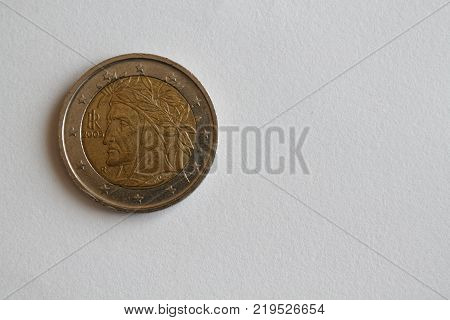 One euro coin lie on isolated white background Denomination is 2 euro - back side