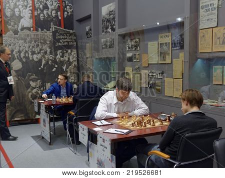 ST. PETERSBURG, RUSSIA - DECEMBER 4, 2017: Super-final matches of 70th Men's Russian Chess Championship. Museum of political history houses the event