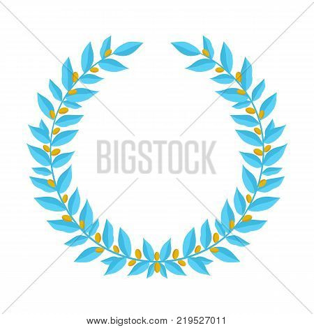 Blue laurel wreath with golden berries. Vintage wreaths heraldic design elements with floral frames made up of laurel branches with gold berries on white background. Symbol of winner or valor and mind. Vector illustration