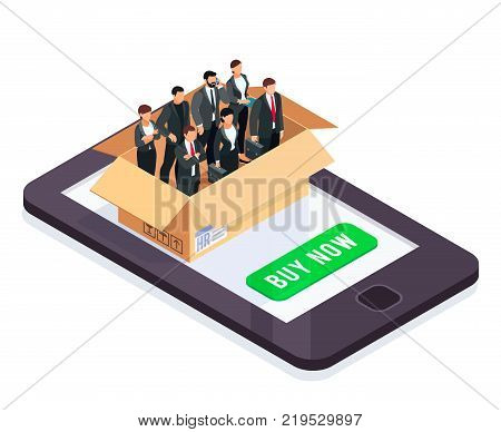 HR isometric concept. Set of managers in a box isolated on white background. Office workers packed in a cardboard box. Online search for employees. Vector illustration.
