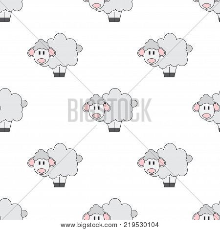 Flat line color vector seamless pattern cute animal for baby products - sheep. Cartoon style. Childrens doodle. Babyhood. Newborn. Vector illustration, element for design, wallpaper. Kids toy. Farm