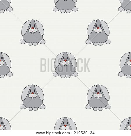 Flat line color vector seamless pattern cute animal for baby products - bunny. Cartoon style. Childrens doodle. Babyhood. Newborn. Vector illustration, element for design, wallpaper. Kids toy. Farm