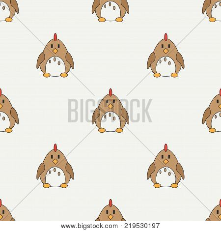 Flat line color vector seamless pattern cute animal for baby products - chicken. Cartoon style. Childrens doodle. Babyhood. Newborn. Vector illustration, element for design, wallpaper. Kids toy. Farm