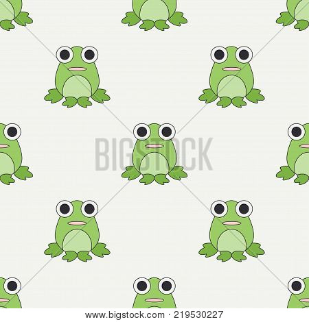 Flat line color vector seamless pattern cute animal for baby products - frog. Cartoon style. Childrens doodle. Babyhood. Newborn. Vector illustration, element for design, wallpaper. Kids toy. Farm.