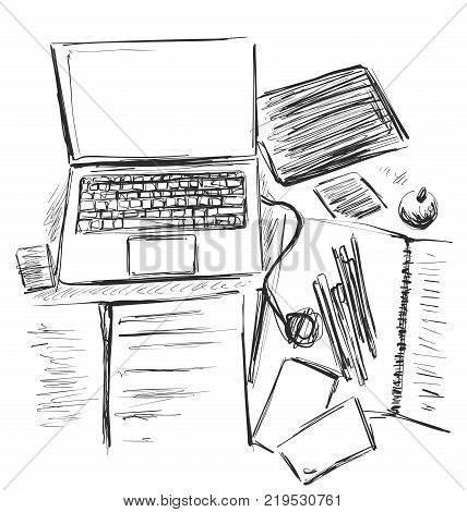 Workplace organization, stationery elements on table. Sketch office work desk. Business, school consept. Computer.