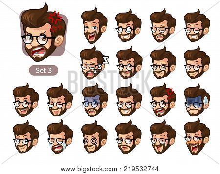The third set of bearded hipster facial emotions cartoon character design with glasses and different expressions, cry, sleep, pissed of, embarrassed, fear, triumph, confused, fear, etc. vector illustration.