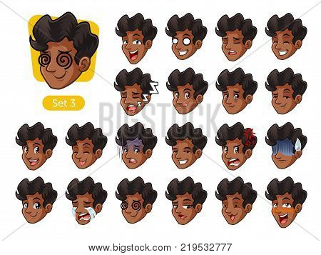 The third set of male facial emotions cartoon character design with curly hair and different expressions, cry, sleep, pissed of, embarrassed, fear, triumph, confused, fear, etc. vector illustration.