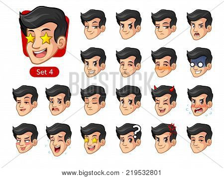 The fourth set of male facial emotions cartoon character design with black hair and different expressions, happy, bored, scary, pervy, uptight, disgust, amaze, silly, mad, etc. vector illustration.