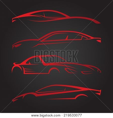 Business Set of modern car emblems. Sports car silhouette. Logo design template for car sport. Vector illustration EPS.8 EPS.10