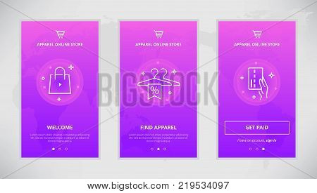 Onboarding design concept for apparel online store. Modern vector outline mobile app design set of apparel shop. Onboarding screens for apparel shopping online