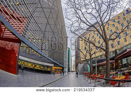 LONDON ENGLAND - NOVEMBER 27 2017: Modern and spectacular buildings on More London Riverside ( M&S Simply Food Hilton Street Terrasa and others).