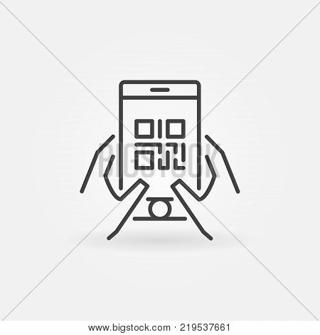 QR code in smartphone vector icon or symbol in thin line style