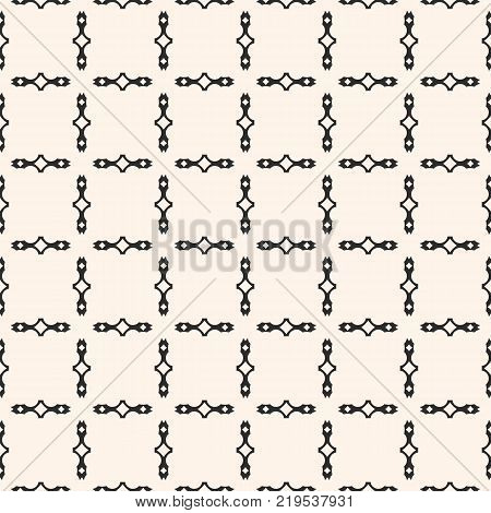 Vector geometric seamless pattern with square grid, lattice, chains, net. Simple ornamental texture. Abstract monochrome background. Repeat graphic design for decor, textile, prints, wrapping. Grid background. Grid texture. Square grid pattern.