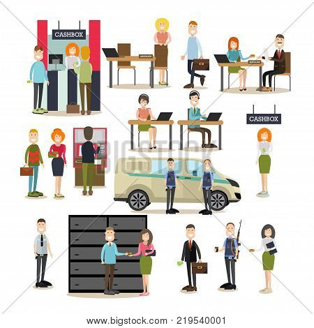Vector illustration of bank teller, managers and customers, armed collectors and security guard. Bank people symbols, icons isolated on white background. Flat style design.
