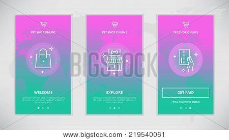 Onboarding design concept for pet shop online. Modern vector outline mobile app design set of pet goods online shop. Onboarding screens for pet goods buying online