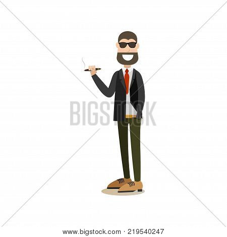 Vector illustration of confident businessman in suit standing with one hand in pocket and smoking cigar. Business people flat style design element, icon isolated on white background.