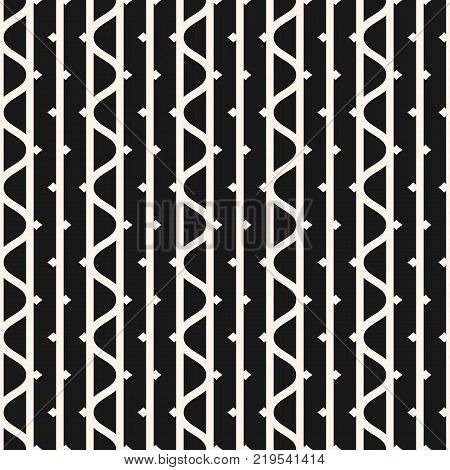 Vector seamless pattern with vertical lines, wavy stripes, ink line elements. Black and white abstract geometric texture. Funky style monochrome background. Repeat design for decoration, textile. Lines pattern. Lines background. Wavy lines texture.