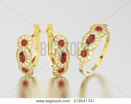 3D illustration set of yellow gold decorative diamond ruby earrings with hinged lock and three ruby stone solitaire engagement ring on a grey background