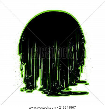 Vector background the flow of luminescent glowing green radioactive sludge. Figure terrible stringy black mass, flowing down in large drops. Holiday Halloween card or banner