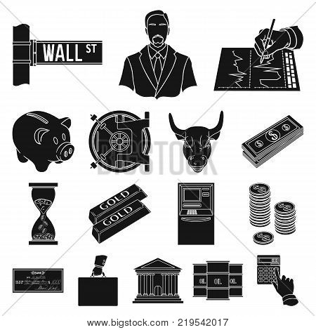 Money and Finance black icons in set collection for design. Business and Success vector symbol stock  illustration.