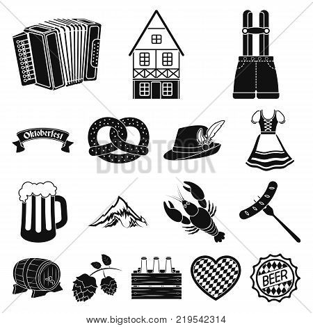October festival in Munich black icons in set collection for design.Tradition and fun vector symbol stock  illustration.