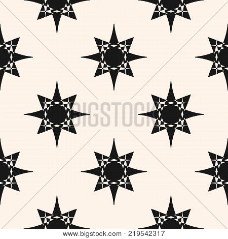 Vector ornament geometric pattern with star shapes. Abstract seamless ornamental texture. Elegant monochrome background. Stylish repeat design for home decor, textile, cloth, furniture, ceramic, tiles. Stars pattern. Oriental pattern. Stars texture.